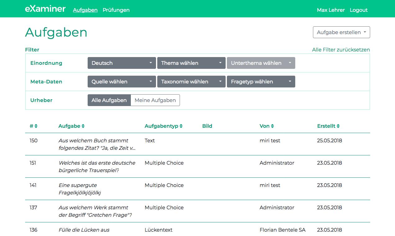 Darstellung, wie im Prüfungstool eXaminer die Aufgaben zusammengestellt werden können.