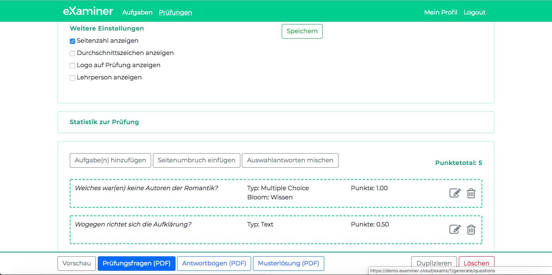 Darstellung wie aus den zusammengestellten Prüfungen direkt PDF-Dokumente erstellt werden.