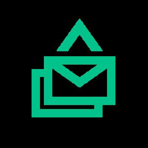 Symbol für E-Mail, weil die Prüfungsresultate automatisch an Lernende verschickt werden können.