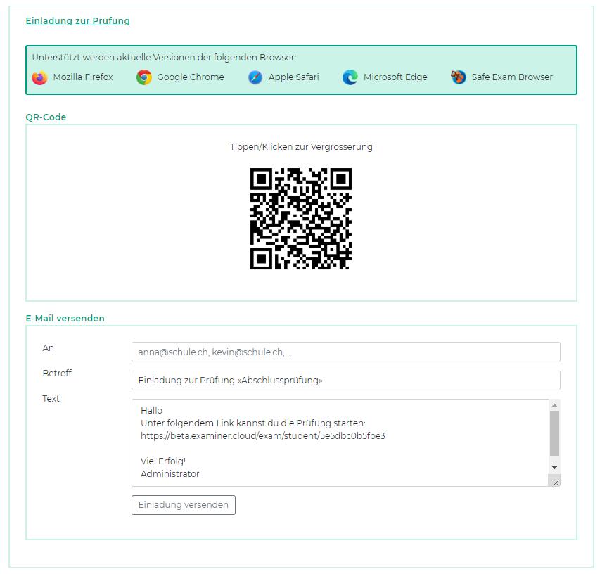 Screenshot der Einladungseinstellungen zur Prüfung