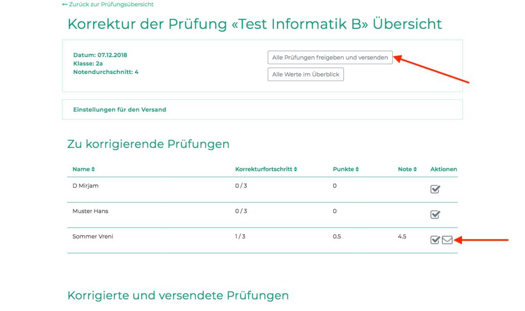 Versand der Prüfungen an die Schüler/innen kann hier ausgelöst werden (Screenshot)